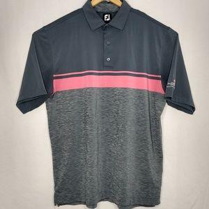 FJ FootJoy XL Pink Gray Polyester Golf Polo Shirt